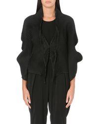 Issey Miyake Pleated Textile Placket Jacket Black - Lyst