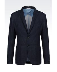Armani Slim Fit Jacket In Denim Effect Cotton And Linen - Lyst