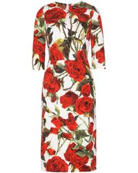 Dolce & Gabbana Floral-Printed Brocade Dress - Lyst