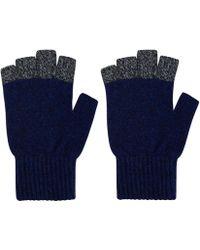 Oliver Spencer - Blue Contrast Trim Wool Blend Gloves - Lyst