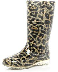River Island Brown Leopard Print Wellies - Lyst