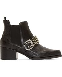 McQ by Alexander McQueen Black Grained Leather Silver_Trimmed Chelsea Boots - Lyst