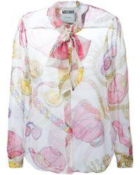 Moschino Accessories-Print Silk Blouse - Lyst