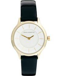 French Connection - Double Circle Dial Black Watch - Lyst