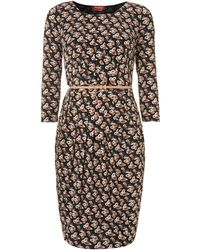 Max Mara Studio Fosca Floral Print Belted Dress - Lyst