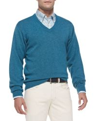 Peter Millar Cashmere V-neck Sweater - Lyst