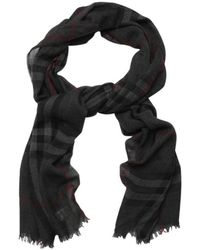 Burberry Charcoal Crinkled Giant Check Cashmere Scarf - Lyst