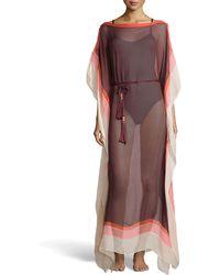 Diane von Furstenberg Color-Block Sheer Chiffon Tassel Cover-Up - Lyst