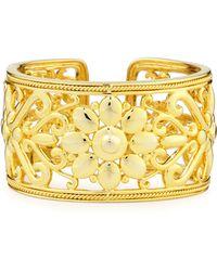 Eli Jewels Sunflower 18k Gold Hinged Cuff Bracelet - Metallic