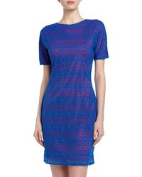 Marc New York By Andrew Marc Twotone Lace Crepe Sheath Dress Blue Jay - Lyst