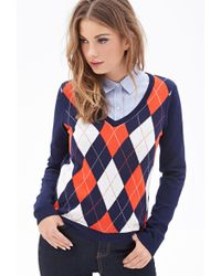 Forever 21 Argyle V-Neck Sweater - Lyst
