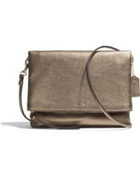 Coach Bleecker Foldover Crossbody in Metallic Leather - Lyst