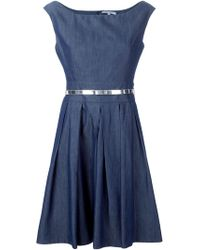 Blumarine Flared Metallic-Belt Dress - Lyst