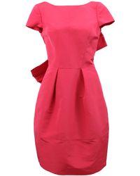Oscar de la Renta Bow Back Front Pleat Dress - Lyst