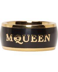 Alexander McQueen Black And Gold Enamel Ring - Lyst