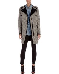 Karen Millen Graphic Tweed Pod Coat - Lyst
