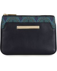 Catherine & Jean - Jean Pocket Clutch In Midnight Blue Peacock - Lyst