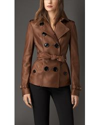 Burberry Leather Trench Jacket - Lyst