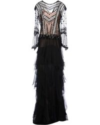 Alberta Ferretti Black Long Dress - Lyst