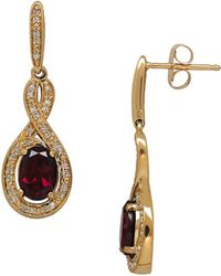 Lord & Taylor - 4k Yellow Gold Garnet Diamond Accent Earrings - Lyst