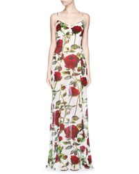 Dolce & Gabbana | floral Rose Print Silk Chiffon Gown | Lyst