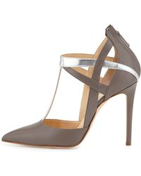 Alejandro Ingelmo Mixed-leather T-strap Pump - Lyst