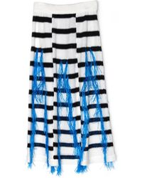 Thakoon Marine Raffia Woven Stripe Knit Skirt - Lyst
