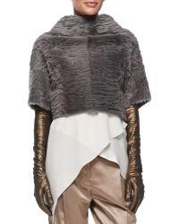 Brunello Cucinelli - Lamé Leather Evening Gloves - Lyst