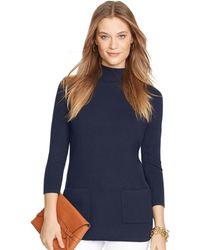 Ralph Lauren Mockneck Tunic Sweater - Lyst