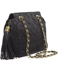 Chanel Preowned Quilted Nylon Tassel Vintage Shoulder Bag - Lyst