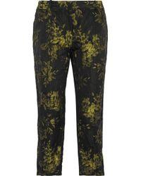 Vera Wang Metallic Floralbrocade Slimleg Pants - Lyst