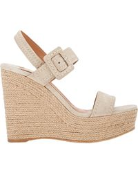 Prada Double-Band Platform Wedge Espadrilles - Lyst