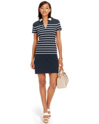 Tommy Hilfiger Striped Laura Polo Dress blue - Lyst