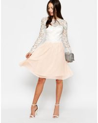 Little Mistress Long Sleeve Lace Top Dress With Full Skirt - Lyst