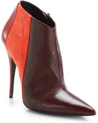 Narciso Rodriguez - Sarah Leather, Suede And Watersnake Ankle Boots - Lyst
