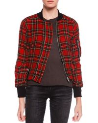 R13 Plaid Shrunken Flight Jacket - Lyst