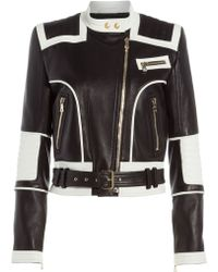 Balmain Bi-Color Leather Jacket - Lyst