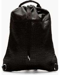 4f666616c389 Kris Van Assche - Black Croc Etched Leather Backpack - Lyst