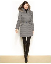 DKNY Petite Hooded Faux Fur Trim Belted Down Puffer Coat - Lyst