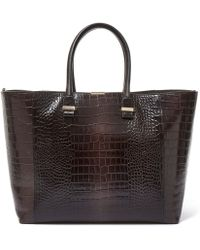 Victoria Beckham - Grey Liberty Crocodile Embossed Leather Tote Bag - Lyst