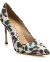 Manolo Blahnik | Leopard-print Point-toe Pumps | Lyst