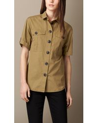 Burberry Cotton Utility Shirt - Lyst