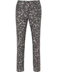 Oscar de la Renta Printed Stretch-Cotton Skinny Pants - Lyst