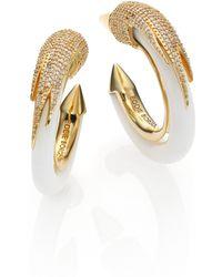 Eddie Borgo Milky Quartz Pavé Plume Hoop Earrings/Silvertone silver - Lyst