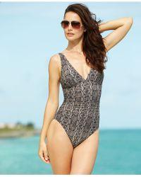 Calvin Klein Snakeskin-Print One-Piece Swimsuit - Lyst