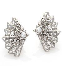 Oscar de la Renta | Crystal & Faux Pearl Filigree Stud Earrings/silvertone | Lyst
