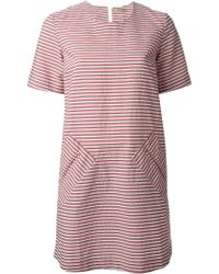 Peter Jensen Striped Shift Dress - Lyst
