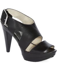 MICHAEL Michael Kors Carla Leather Platform Sandal Heels - Lyst