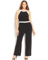 Calvin Klein Plus Size Contrast-Trim Halter Jumpsuit - Lyst