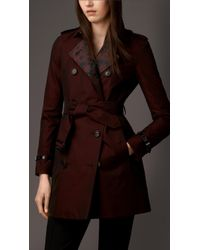 Burberry Gabardine Trench Coat with Contrast Jacquard Detail - Lyst